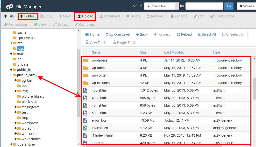 Upload File to public html Folder