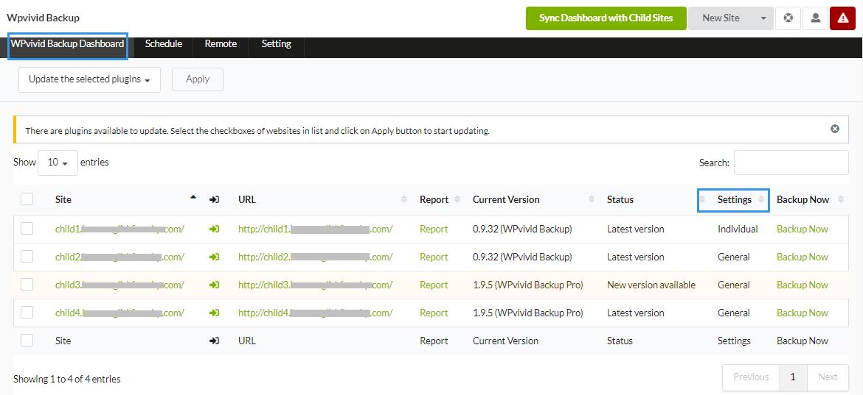 WPvivid Backup Extension Dashboard MainWP