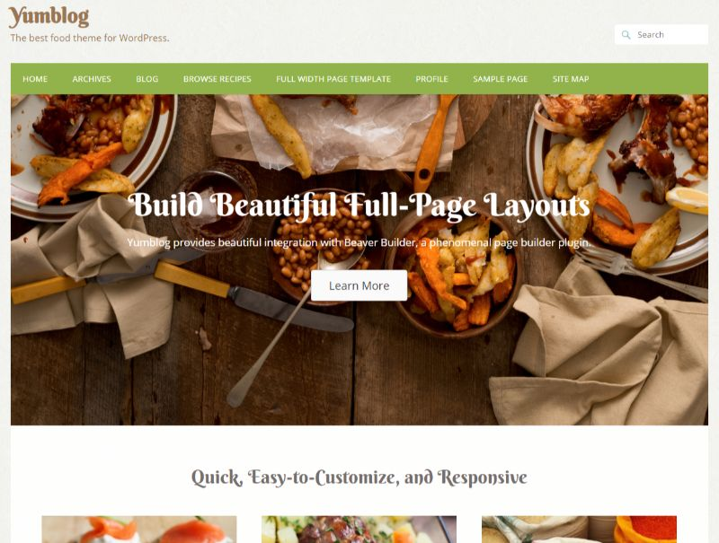Yumblog WordPress food theme
