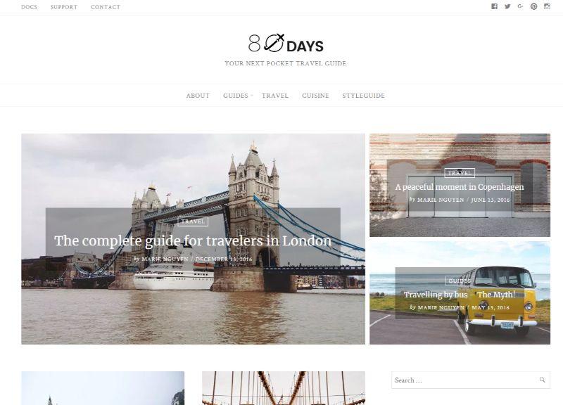 80 days WordPress travel theme