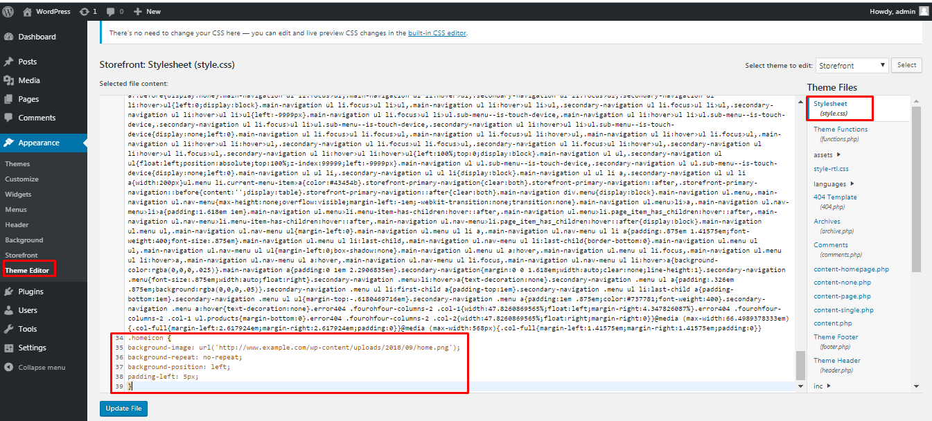 Adding css code to the stylesheet
