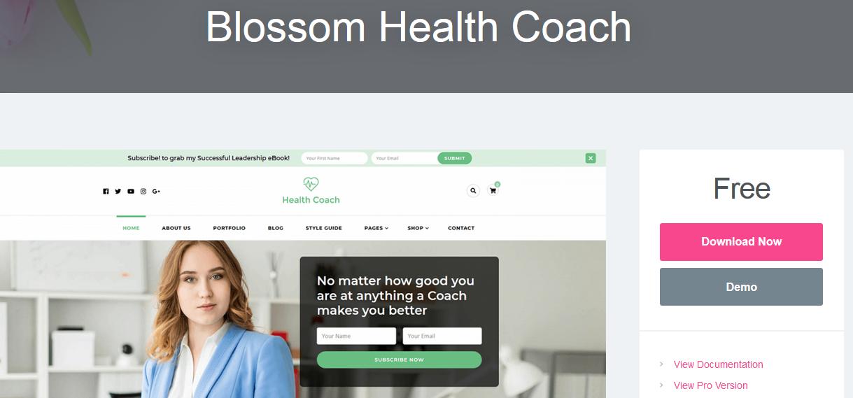 Blossom Health Coach WordPress medical theme