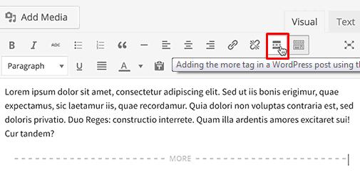 Classic editor - Read more tag