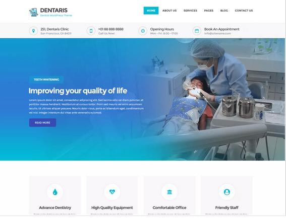 Dentaris WordPress medical theme