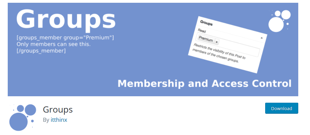 Groups WP membership plugin