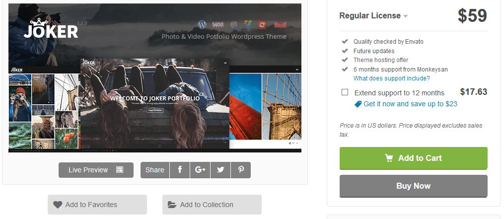 Joker photography WordPress theme