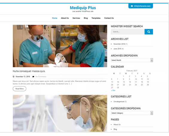 Mediquip Plus WordPress medical theme