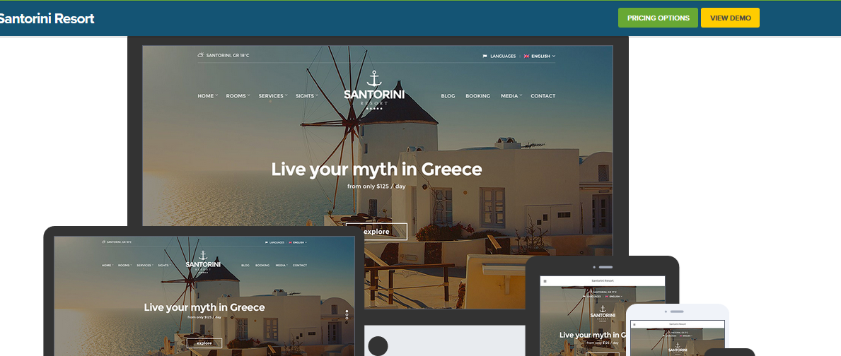 Santorini hotel WordPress theme