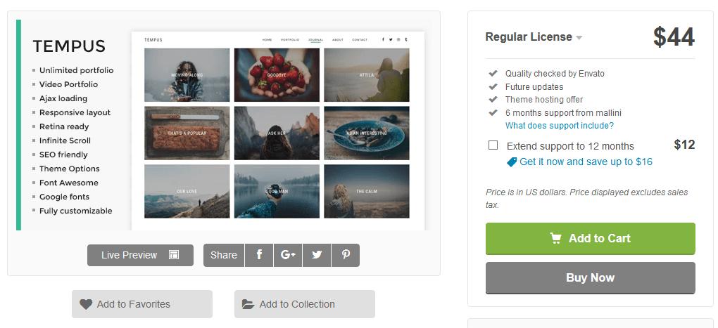 Tempus photography WordPress theme