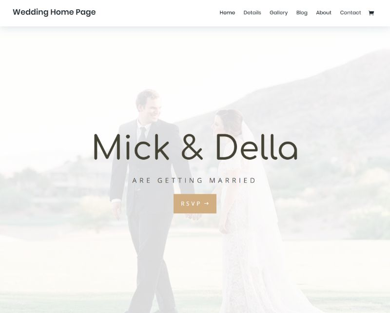 Wedding Home Page Divi Layout