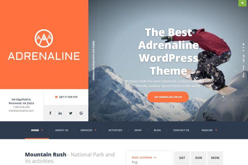 Adrenaline WordPress travel theme