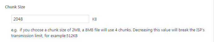 Chunk size for backup files