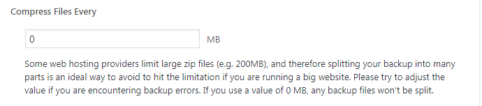 Compress files every certain MB