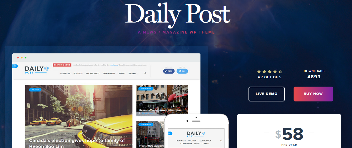 Daily Post WordPress magazine theme