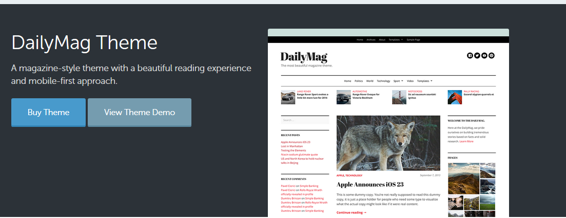 Dailymag WordPress magazine theme