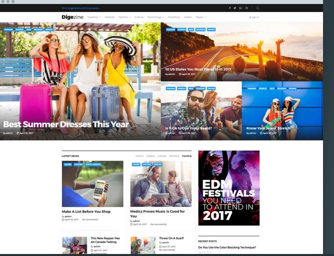 Digezine WordPress magazine theme