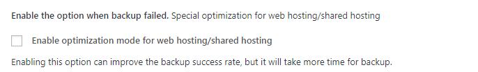 Enable optimization mode for web hosting and shared hosting