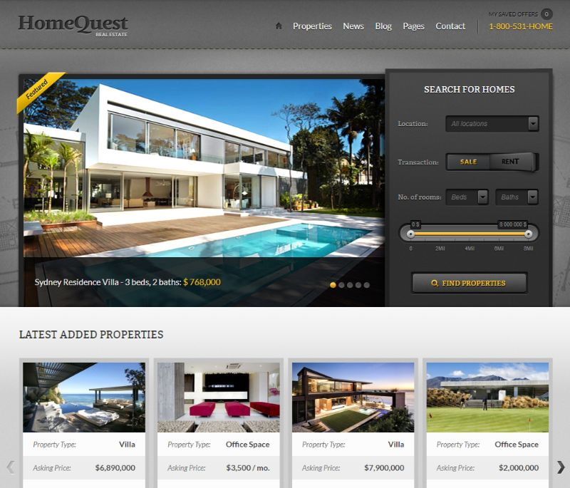 Home Quest Real Estate WordPress Theme