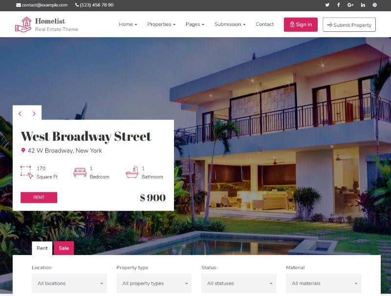 Homelist Real Estate WordPress Theme