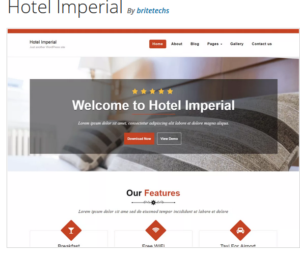 Hotel imperial hotel WordPress theme