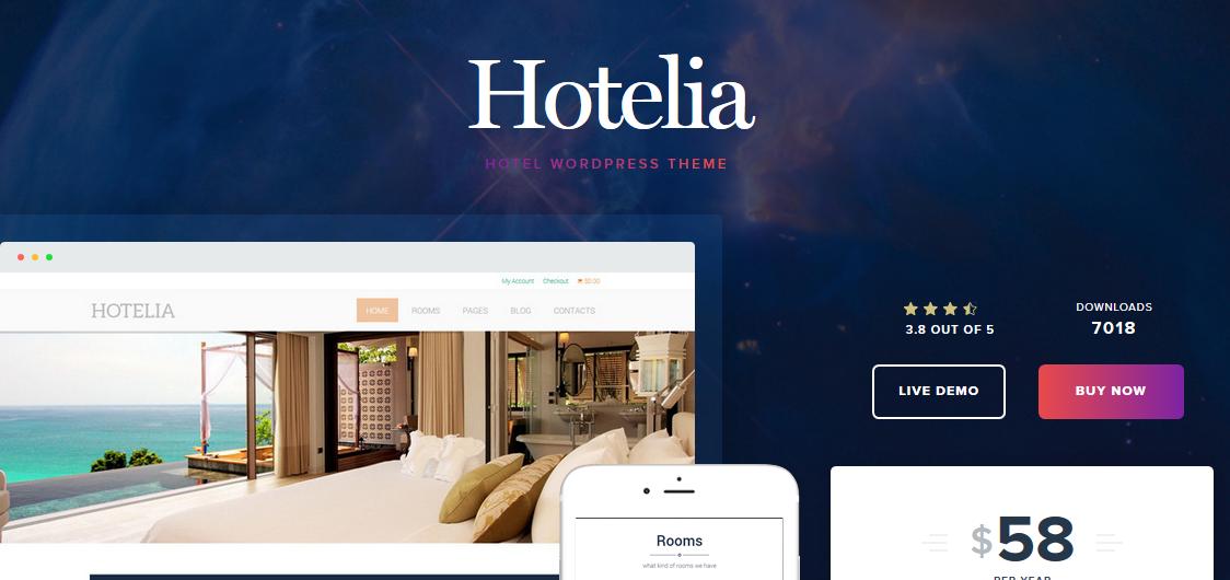 Hotelia hotel WordPress theme