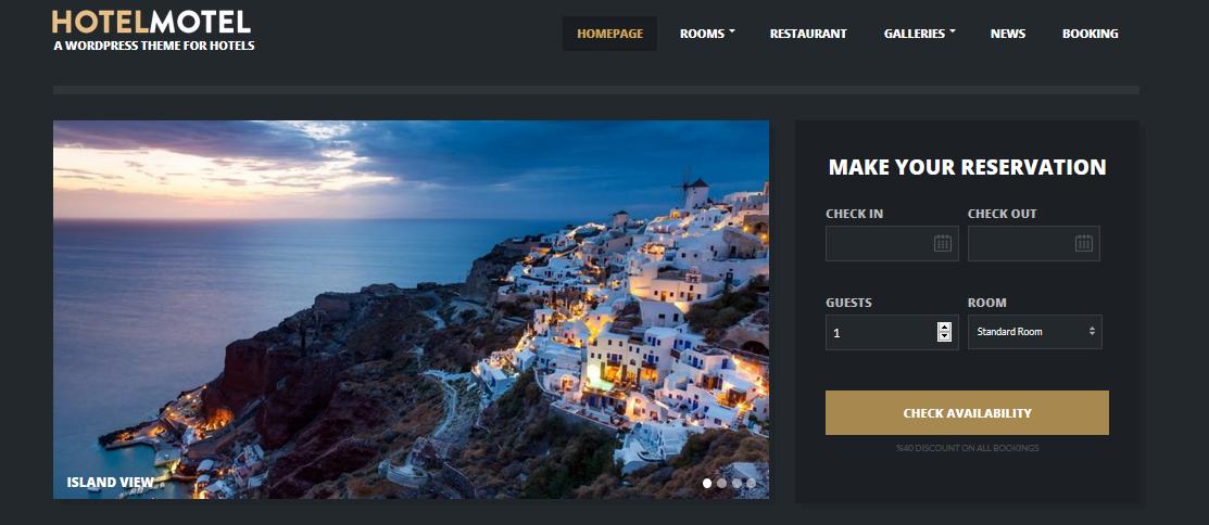 Hotelmotel hotel WordPress theme