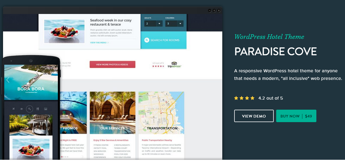 Paradise cove hotel WordPress theme