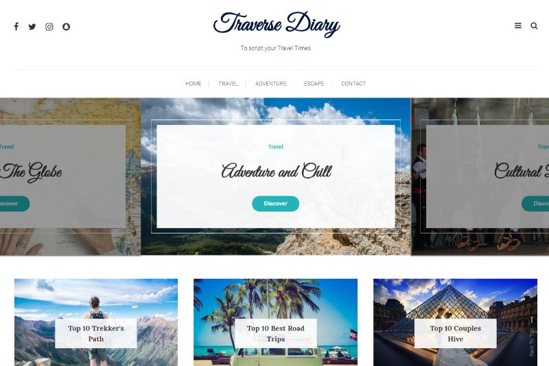 Traverse Diary WordPress travel theme