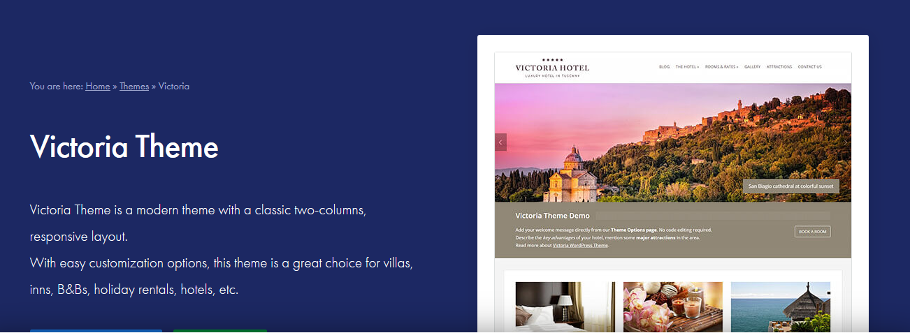 Victoria hotel WordPress theme