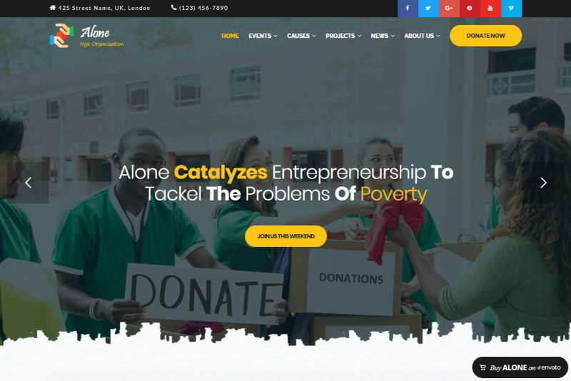 Alone WordPress Charity Theme