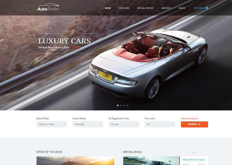 Auto Trader Automotive WordPress Theme