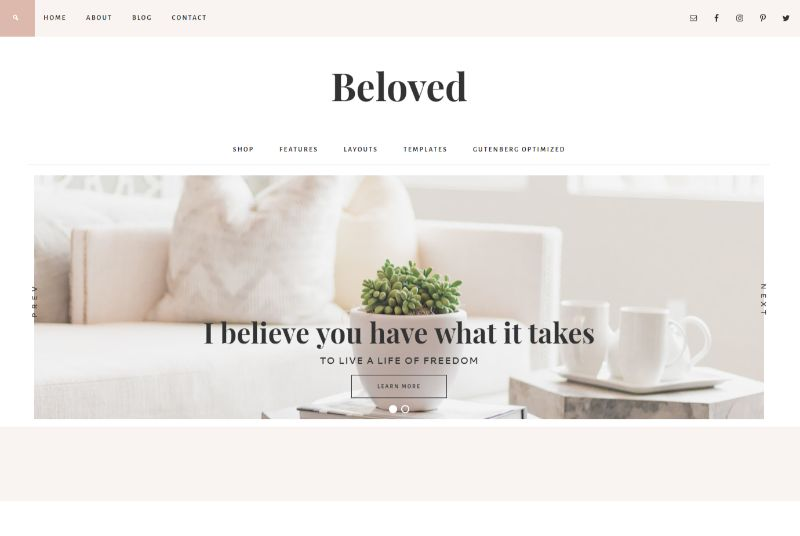 Beloved Theme Feminine WordPress Theme