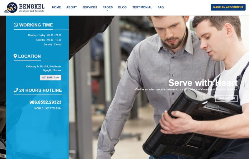 Bengkel Automotive WordPress Theme