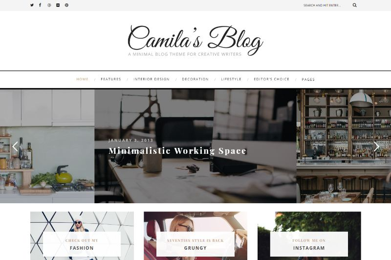 Camila WordPress Minimalist Theme
