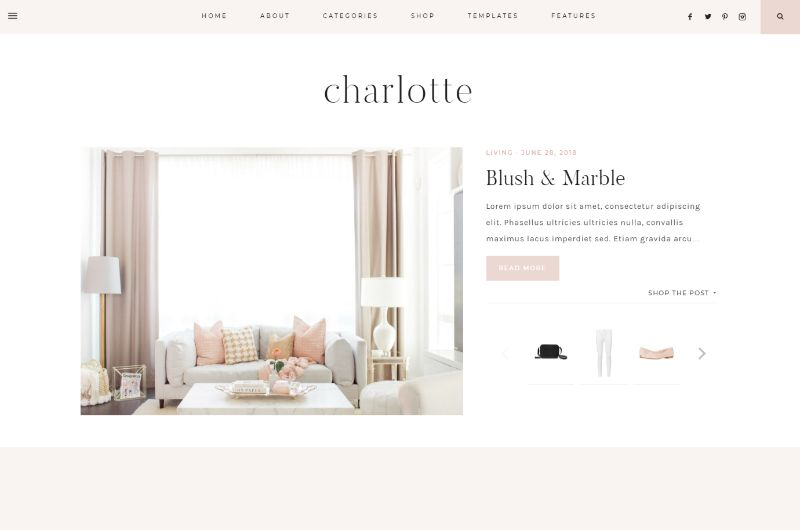 Charlotte Feminine WordPress Theme
