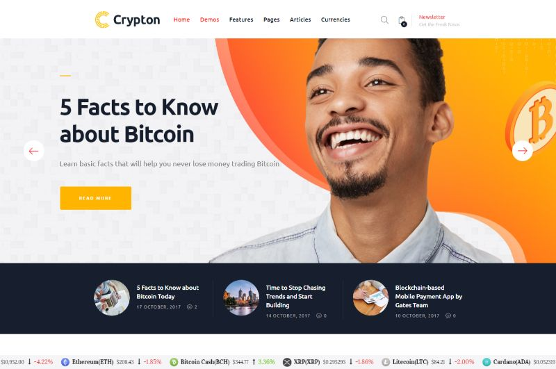 Crypton Bitcoin Cryptocurrency WordPress Theme