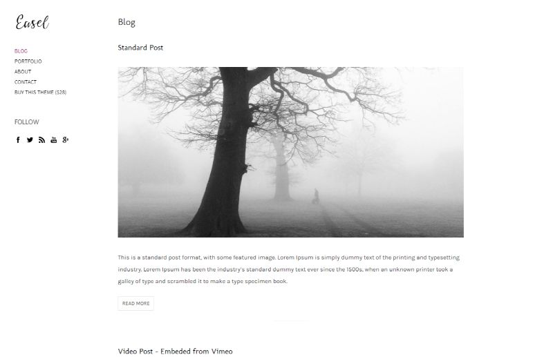 Easel WordPress Minimalist Theme