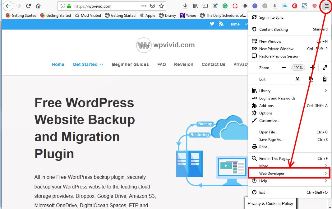 Find developer tools on Firefox browser