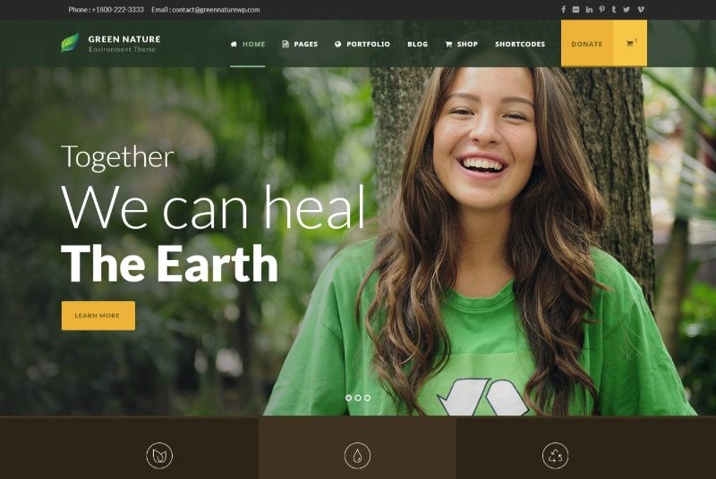 Green Nature WordPress Charity Theme