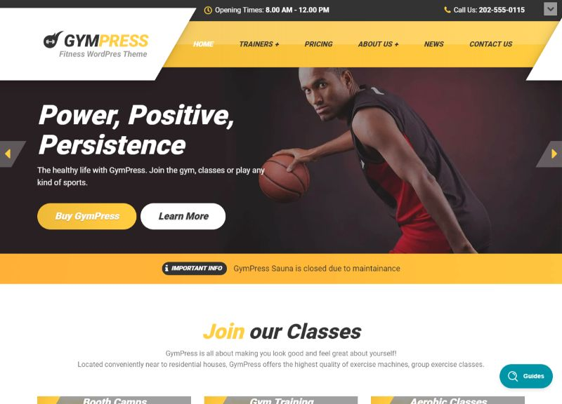 GymPress Fitness WordPress Theme