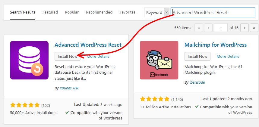 Install Advanced WordPress Reset plugin