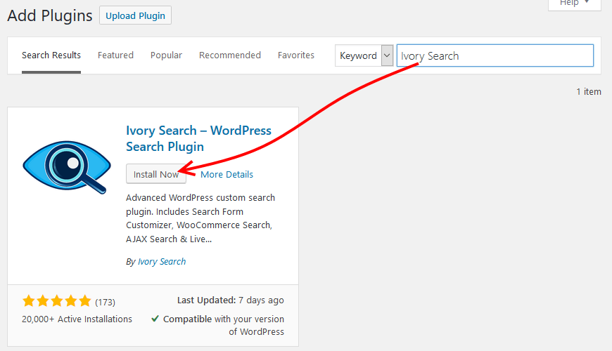 Install Ivory WordPress search plugin