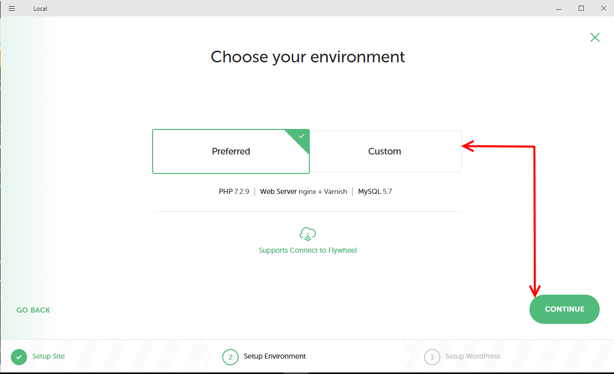 Choose environment for new site on Local by Flywheel