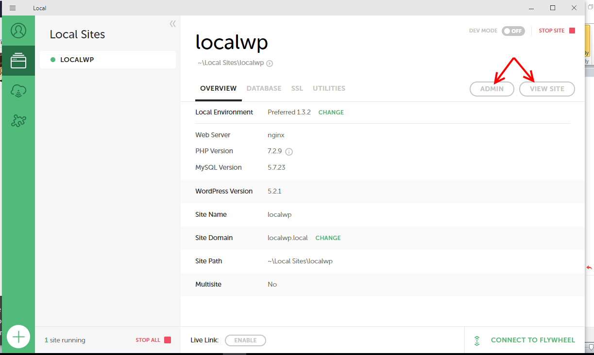 Manage new site on Local by Flywheel