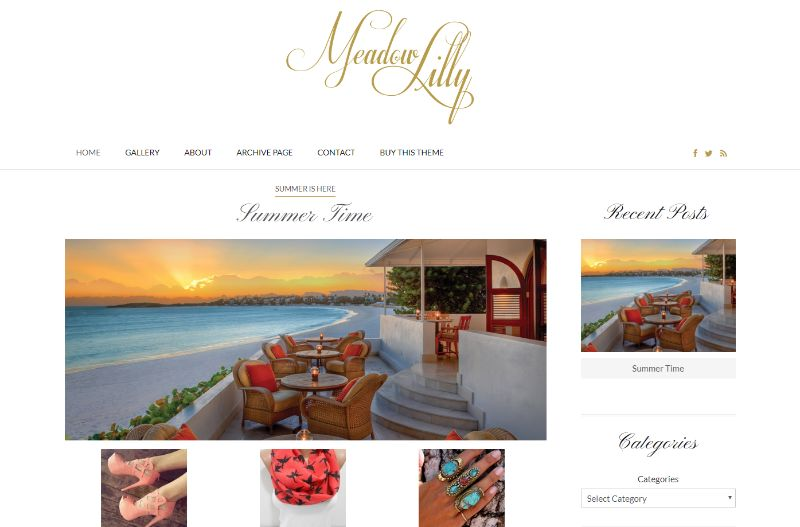 Meadow Lilly Lifestyle WordPress Theme