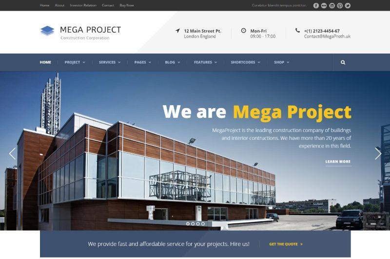 Mega Project Architecture WordPress Theme