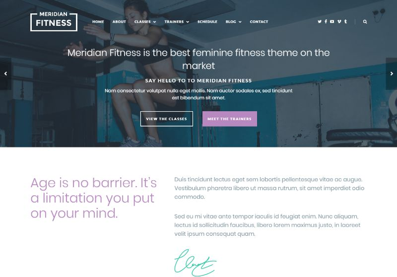 Meridian Fitness WordPress Theme