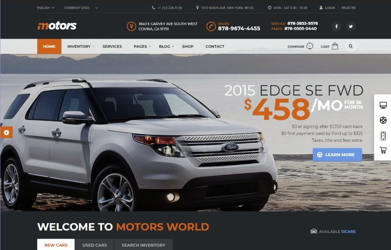 Motors Automotive WordPress Theme