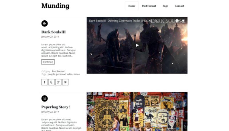 Munding WordPress Minimalist Theme