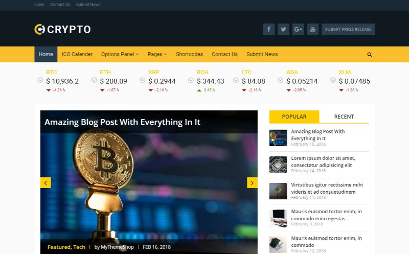 MyThemeShop Bitcoin Cryptocurrency WordPress Theme